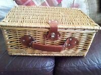 Vintage style picnic hamper.