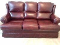 3 piece suite.burgandy leather .