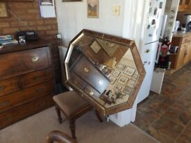 LARGE ORNATE MODERN MIRROR WITH GOLD COLOURED METAL SURROUND & MOTTLED GLASS