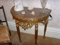 ornate console table and mirror