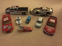 Heavy duty toy racing cars. 5 cars, 1 transporterwith trailer, Bedford van
