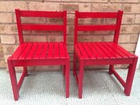 Red children's chairs