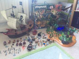 Playmobile Pirate Ship & Pirate Adventure Island plus all accessories