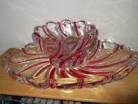Small Glass Tray and Matching Bowl.