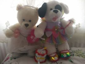 2x Build A Bear with fairy and wedding outfits