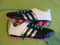 Adidas Ace 15.4 Flexible Ground Football Boots - Size 8 - Black/White/Silver/Mint - Never Worn