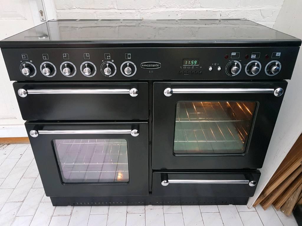 Rangemaster Range Hoods ~ Rangemaster electric range cooker and hood black in