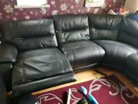 Very Large Black Corner Recliner Sofa