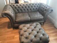 Stunning Handmade in England Chesterfield & Poof