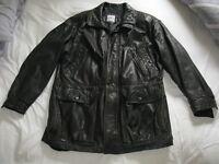 "Mens dark brown leather jacket.""Quadro"" Medium/ small size."