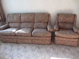 FREE 3 seater sofa, arm chair and reclining arm chair, well looked after, good condition