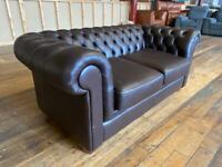 BRANDED CHESTERFIELD TWO SEATER SOFA CHOCOLATE BROWN GENUINE LEATHER 2
