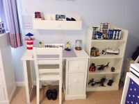 Next Childrens White Hearts and Stars Desk with Chair Football