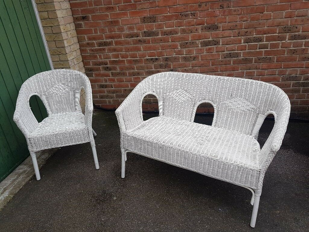 White rattan ikea garden furniture chairs