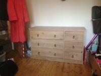 Oak style large chest of drawers