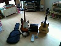 Electric Guitar with Acoustic Guitar Package. Amplifier + Cable + Tuner