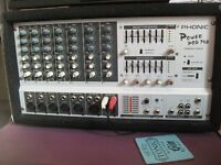 phonic powerpod 740 mixer amp and speakers with stand and accesories