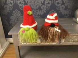 Handmade grinch and max Christmas gnome decorations