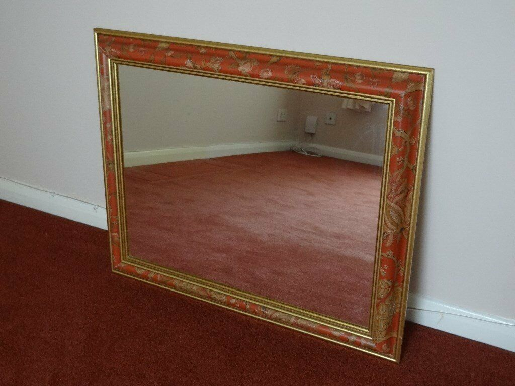 "Russet Floral Wall Mirror for Lounge or Hallway Size: W31"" x D25"""