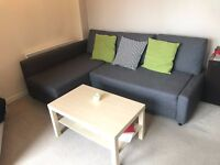 Corner sofa-bed with storage FRIHETEN Skiftebo dark grey (Ikea)