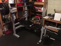 York Bench Press with bar and weights