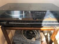 Retro turn table and tape deck with 2 speakers