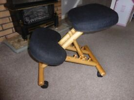Kneeling Chair , very good condition and low usage , on casters & simple adjustment