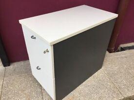 Grey 2 drawer office pedestal or filing cabinet