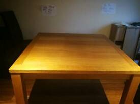 Solid oak dining room table and 6 leather chairs for sale