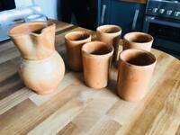Ceramic Jug and 6 cups/glasses