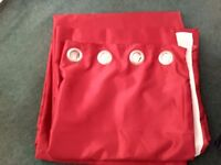 Red faux silk eyelet curtains 66 x 90 inches
