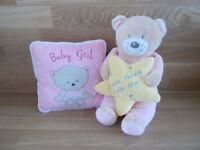 BABY GIRL GIFT SET.CUSHION AND TEDDY BEAR-NEW