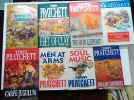 8 Terry Pratchett Hard Backs. Very good condition.