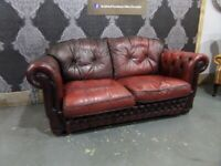 Fantastic Chesterfield 2 Seater Sofa in Oxblood Red Leather - UK Delivery