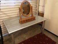 Free mirror and Ikea glass table