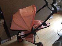 Quinny zapp xtra2 pink, footmuff,newborn insert,maxi cosi adapters, transport bag.