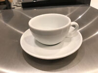 Cappucino cups and saucers white Royal Porcelain x 48