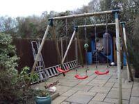 solid wood frame children's swing ,has 3 swings