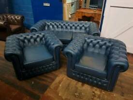 Blue Saxon Chesterfield 3 Piece Suite