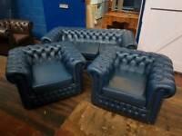 Blue Saxon Chesterfield 3 Piece Suite