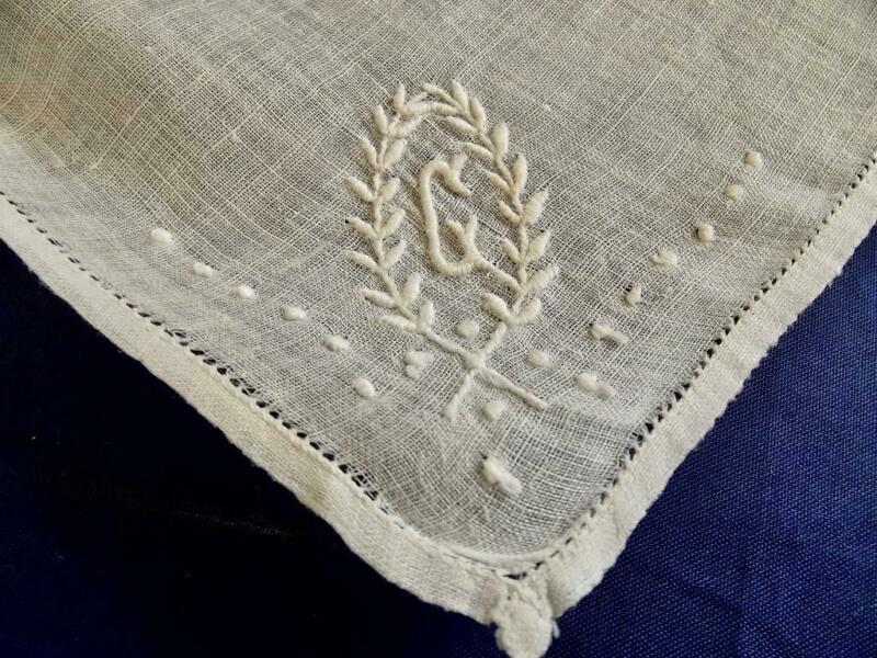 Antique 1920s Linen Hemstitched Handkerchief Scottish Hand Embroidery Monogram C