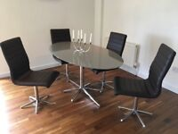Dwell glass dining table and 4 chairs
