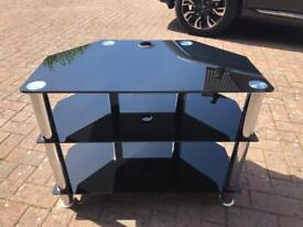 TV stand black tempered glass