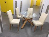Solid glass table with 6 leather chairs, Free delivery