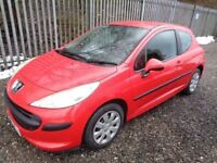 PEUGEOT 207 S 2007 1.4 PETROL 3 DOOR HATCHBACK RED 79,000 MILES M.O.T 15/11/18 NO ADVISORIES