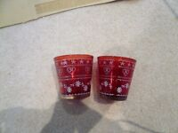 Two Red Festive Tea Light Holders