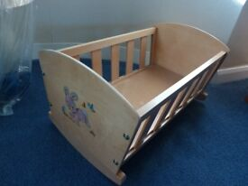 Toy cot (wooden) - vgc - £5