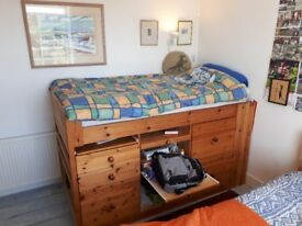 Cabin bed (single). Carpenter made, solid pine construction. Range of built in drawers and shelves