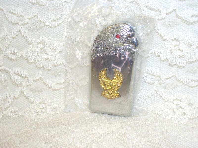 Eagle Cigarette Lighter Silver with Gold Emblem Red Gem Eye