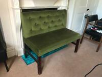 Vintage emerald green velvet bench